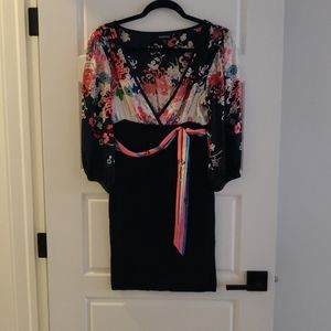 BEBE size small bodycon dress with satin belt